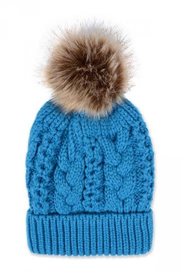 Womens Plain Fur Pom Pom Thick Warm Cable Knit Hat Blue