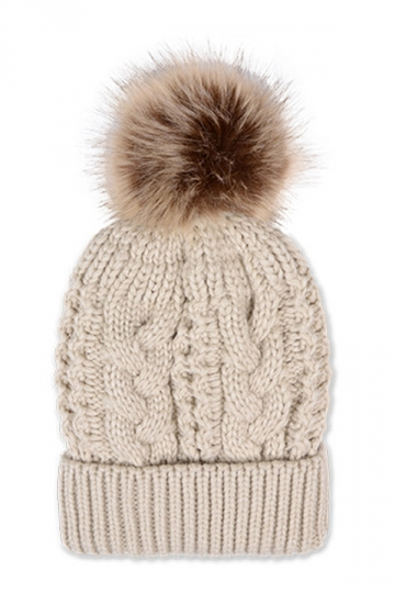 Womens Plain Fur Pom Pom Thick Warm Cable Knit Hat Beige White
