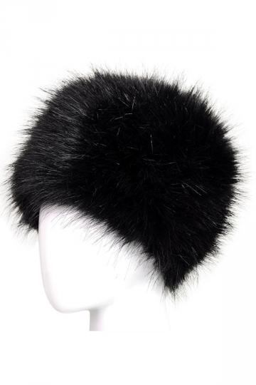Womens Warm Faux Fox Fur Hat Russian Style Winter Cap Black