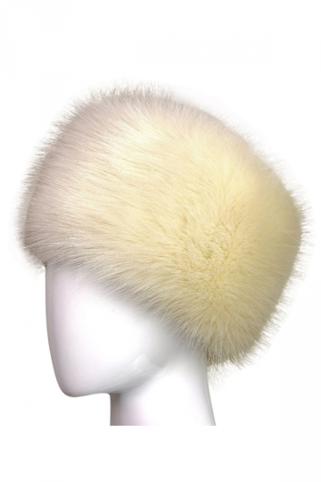 Womens Warm Faux Fox Fur Hat Russian Style Winter Cap Beige White