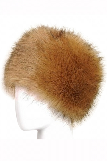 Womens Warm Faux Fox Fur Hat Russian Style Winter Cap Khaki