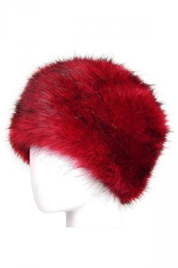 Womens Warm Faux Fox Fur Hat Russian Style Winter Cap Red