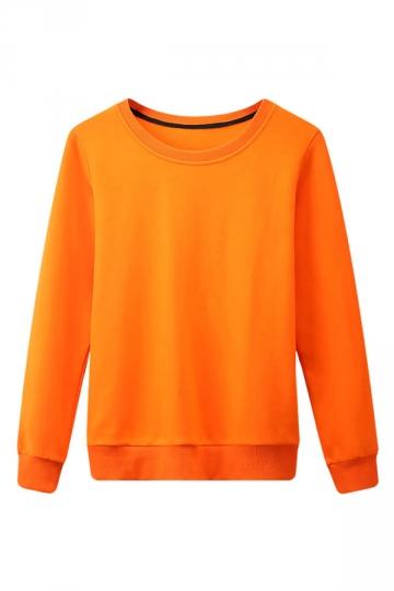 Womens Plain Round Neck Long Sleeve Pullover Sweatshirt Orange