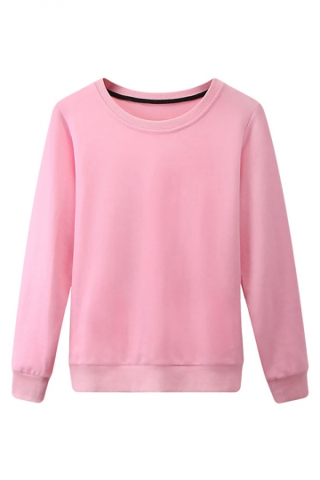 Womens Plain Round Neck Long Sleeve Pullover Sweatshirt Pink