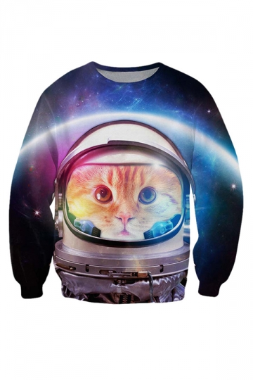 Womens Round Neck Astronaut Cat 3D Print Pullover Sweatshirt Blue
