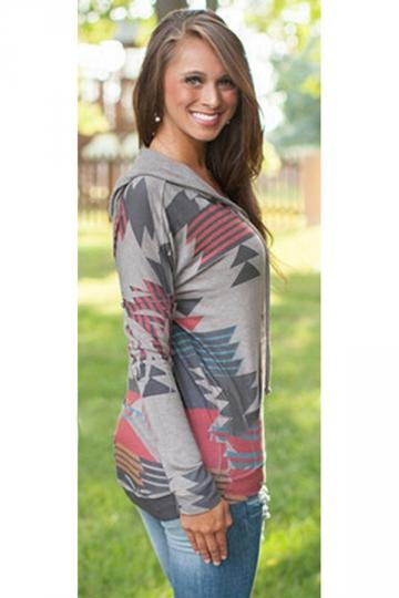 Womens Aztec Print Long Sleeve Drawstring Pocket Pullover Hoodie Gray