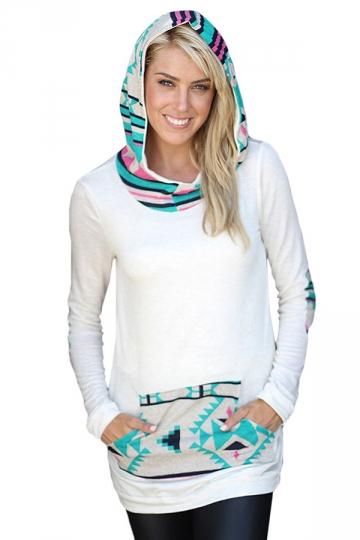Womens Long Sleeve Aztec Print Spliced Pocket Pullover Hoodie Blue