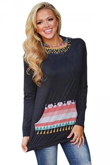 Womens Long Sleeve Aztec Print Spliced Pocket Pullover Hoodie Black