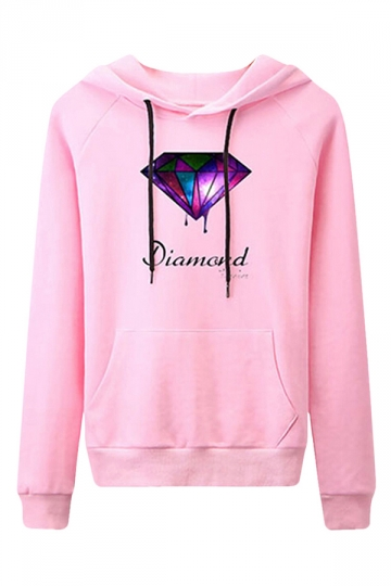 Womens Casual Long Sleeve Diamond Print Pullover Hoodie Pink