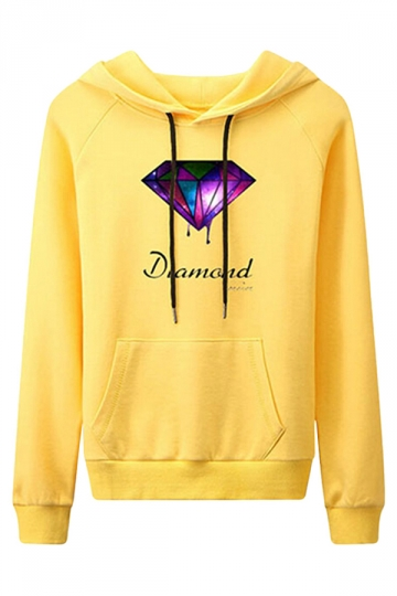 Womens Casual Long Sleeve Diamond Print Pullover Hoodie Yellow