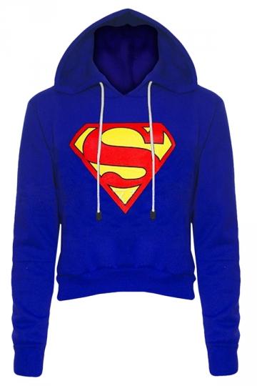 Womens Long Sleeve Color Block Batman Fleece Cropped Hoodie Blue