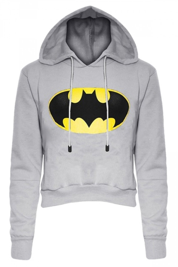Womens Long Sleeve Color Block Batman Fleece Cropped Hoodie Gray