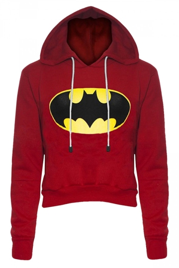 Womens Long Sleeve Color Block Batman Fleece Cropped Hoodie Red