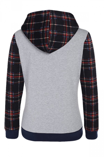 Womens Long Sleeve Plaid Print Color Block Spliced Pocket Hoodie Gray