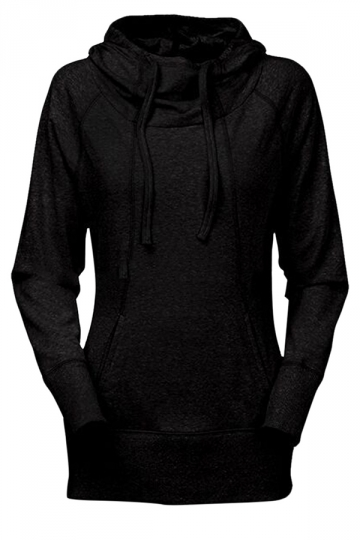Womens Plain Long Sleeve Pocket Medium-long Pullover Hoodie Black