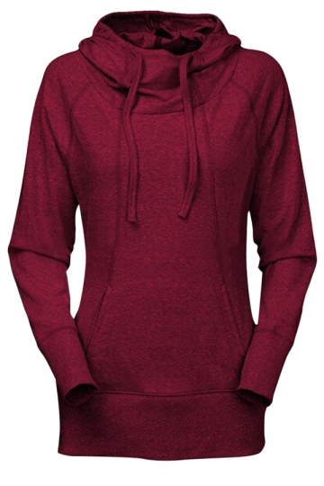 Womens Plain Long Sleeve Pocket Medium-long Pullover Hoodie Ruby