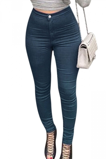 Womens Stylish Slim High Waist Elastic Denim Leggings Blue