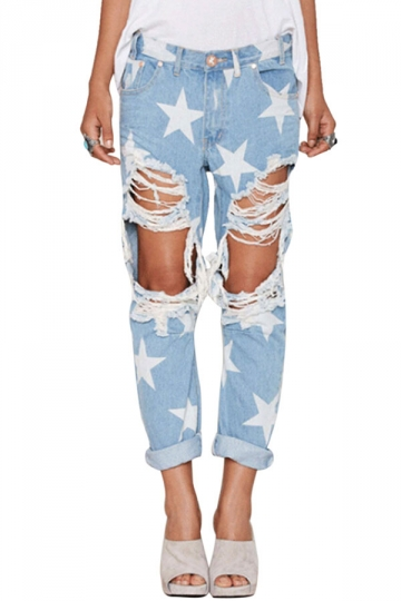 Womens Stylish Star Pattern Straight Ripped Denim Leggings Blue