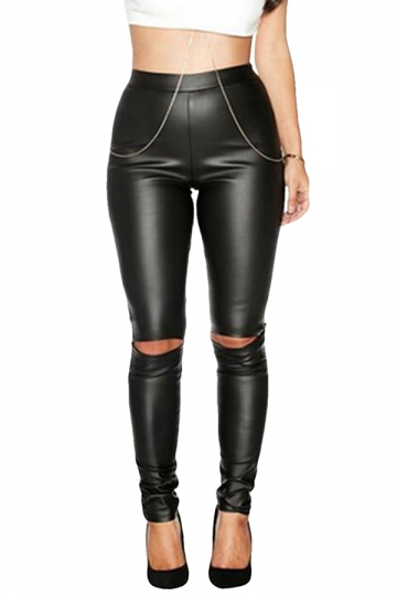 Womens Stylish Ripped Knee PU Leather Leggings Black