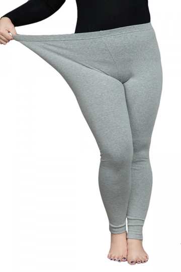 Womens Thick Plus Size High Elastic Ankle-length Leggings Light Gray