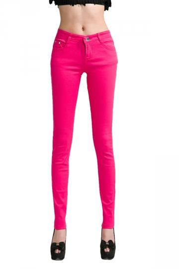 Womens Slim Plain High Elastic Pockets Pencil Pants Leggings Rose Red