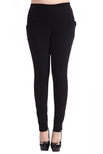 Womens Plain High Elastic Pockets Plus Size Leggings Black