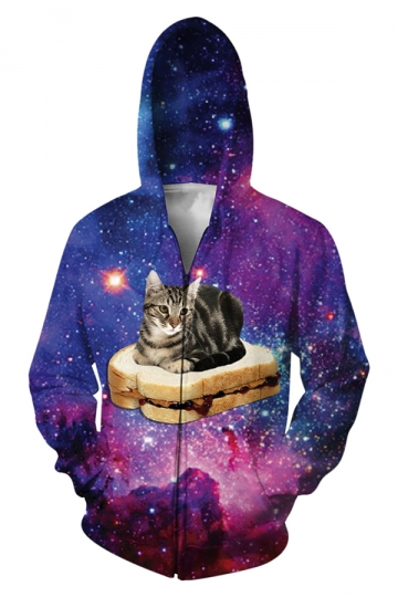 Womens Stylish Long Sleeve Zipper 3D Cat Galaxy Print Hoodie Purple