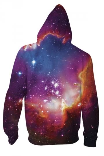 Womens Long Sleeve Zipper Cosmic Forces 3D Print Hoodie Brown