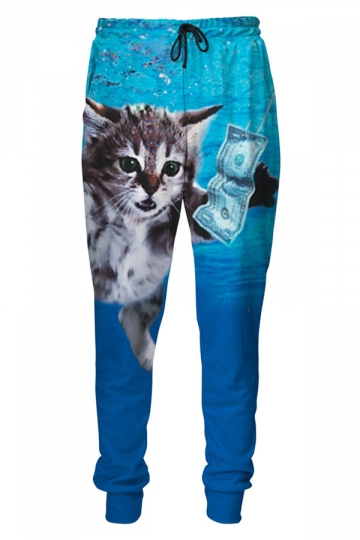 Womens Cat Cobain 3D Digital Print Leisure Harem Sweatpants Blue