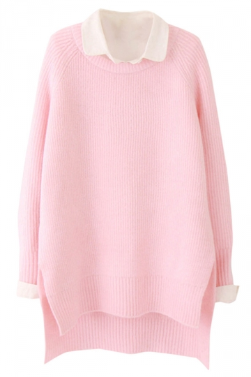 Womens Plain Crewneck Long Sleeve High Low Knit Pullover Sweater Pink