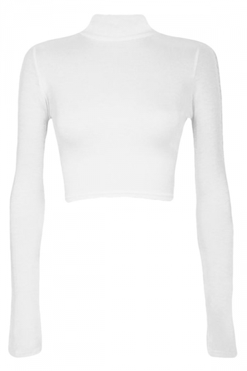 Womens Plain Slim Long Sleeve Stand Collar Crop Top White