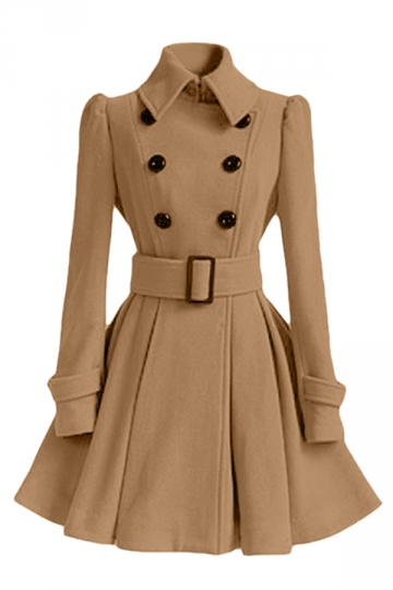 Womens Plain Turndown Collar Double-Breasted Sash Woolen Coat Khaki