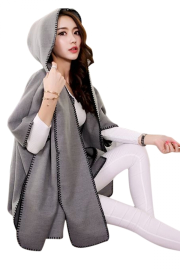 Womens Stylish Batwing Sleeve Hooded Medium-long Poncho Coat Gray