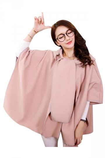 Womens Stylish Batwing Sleeve Hooded Medium-long Poncho Coat Pink