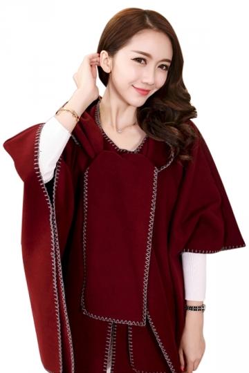 Womens Stylish Batwing Sleeve Hooded Medium-long Poncho Coat Ruby