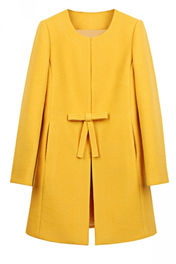 Womens Plain Long Sleeve Double Pockets Bow Decor Woolen Coat Yellow
