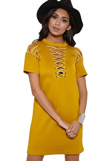 Womens Sexy Plain Short Sleeve Lace Up Shift Dress Yellow