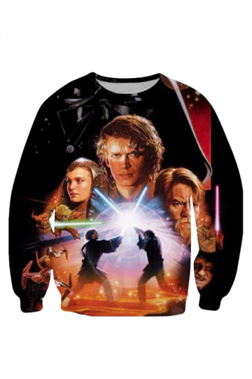 Womens Unique Star Wars Printed Long Sleeve Sweatshirt Orange