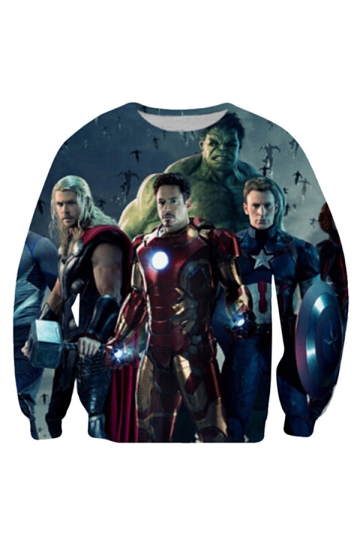 Womens Crewneck Marvel's The Avengers Printed Sweatshirt Blue