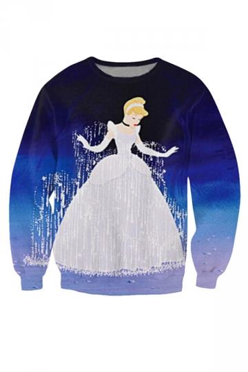 Womens Crewneck Cinderella Printed Sweatshirt Blue