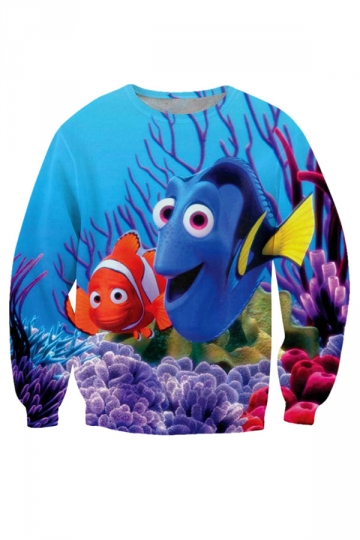Womens Loose Crewneck Finding Nemo Printed Sweatshirt Blue