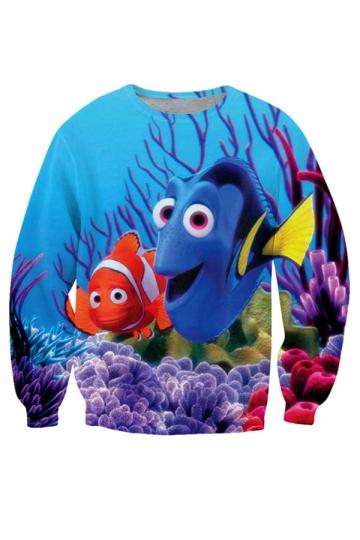 Womens Loose Crewneck Finding Nemo Printed Sweatshirt Blue