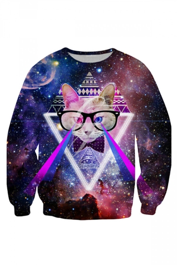 Womens Galaxy Hipster Cat Space Printed Crewneck Sweatshirt Purple