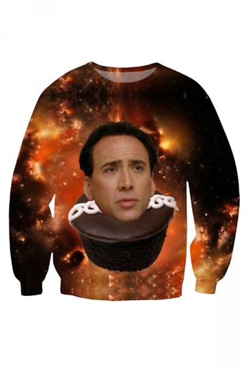 Womens Funny Nicolas Cage Space Cupcake Printed Sweatshirt Brown