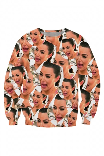 Women Graphic Kim Kardashian 3D Print Sweatshirt Beige