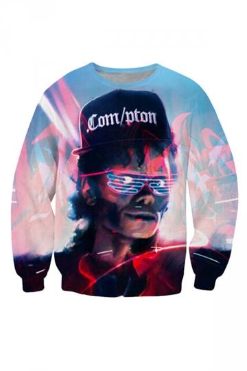Womens Michael Jackson Crewneck Sweatshirt Printed Sweatshirt Blue