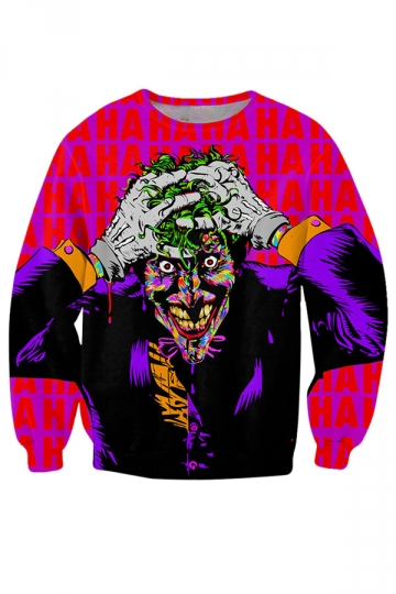 Womens The Joker Sweatshirt Printed Sweatshirt Rose Red