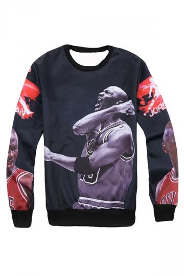 Womens Crewneck Michael Jordan Printed Sweatshirt Black