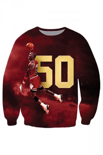 Womens Michael Jordan Printed Crewneck Sweatshirt Red