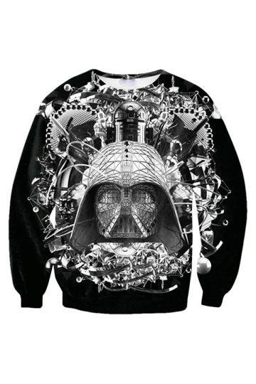 Womens Funny Star Wars B&W  Printed Sweatshirt Black